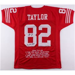 "John Taylor Signed 49ers Career Highlight Stat Jersey Inscribed ""3x S.B. Champs"" (JSA COA)"