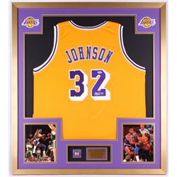 Magic Johnson Signed Lakers 34x38 Custom Framed Jersey Display with Replica NBA Championship Ring (P