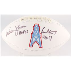 "Warren Moon  Earl Campbell Signed Oilers Logo Football Inscribed ""HOF 02""  ""HOF 91"" (JSA COA)"