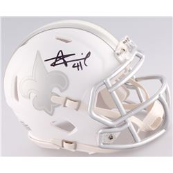 Alvin Kamara Signed Saints Matte White ICE Mini Speed Helmet (JSA COA)