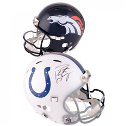 Peyton Manning Signed Broncos / Colts Split Speed Mini Helmet (Fanatics)