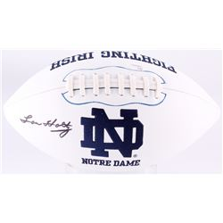 Lou Holtz Signed Notre Dame Fighting Irish Logo Football (JSA COA)