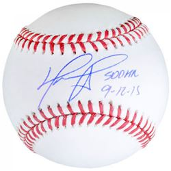 "David Ortiz Signed OML Baseball Inscribed ""500 HR 9-12-15"" (Fanatics  MLB Hologram)"