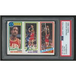 Julius Erving Signed 1980-81 Topps #1 3 Dan Roundfield AS/181 Julius Erving/258 Ron Brewer  (PSA Enc