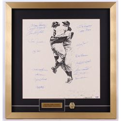 New York Yankees Team-Signed 1956 World Series Champions 21x22 Custom Framed Lithograph Display with
