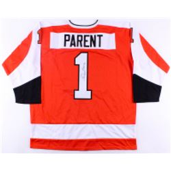 "Bernie Parent Signed Flyers Jersey Inscribed ""HOF 84"" (JSA COA)"