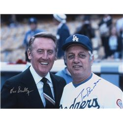 Vin Scully  Tommy Lasorda Signed 11x14 Photo (JSA ALOA)