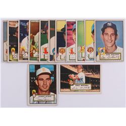 Lot Of (13) 1952 Topps Baseball Cards with #92 Dale Mitchell, #241 Tommy Byrne