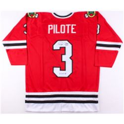 "Pierre Pilote Signed Blackhawks Jersey Inscribed ""H.O.F. 75"" (JSA COA)"