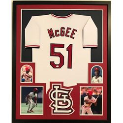 Willie McGee Signed Cardinals 34x42 Custom Framed Jersey Display (JSA COA)