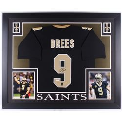 Drew Brees Signed Saints 35x43 Custom Framed Jersey (JSA COA  Brees Hologram)