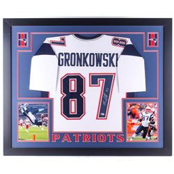 Rob Gronkowski Signed Patriots 35x43 Custom Framed Jersey (Beckett COA)
