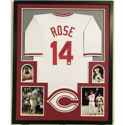 "Pete Rose Signed Reds 34x42 Custom Framed Jersey Inscribed ""4256"" (JSA COA)"