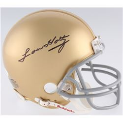 Lou Holtz Signed Notre Dame Fighting Irish Mini Helmet (JSA COA)