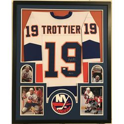 Bryan Trottier Signed Islanders 34x42 Custom Framed Jersey Display (JSA COA)