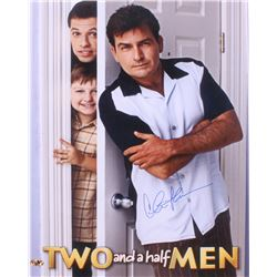 "Charlie Sheen Signed ""Two And A Half Men"" 16x20 Photo (MAB Hologram)"