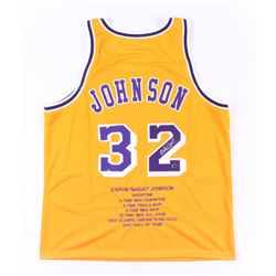 Magic Johnson Signed Lakers Career Highlight Stats Jersey (Schwartz COA)