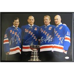 Rangers 12x18 Photo Signed by (4) Mark Messier, Brian Leetch, Mike Richter  Adam Graves (JSA LOA)