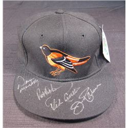 Orioles New Era Hat Signed by (4) with Jim Palmer, Mike Cuellar, Pat Dobson and Dave McNally  (JSA H