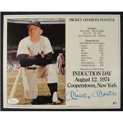 Mickey Mantle Signed Hall of Fame Induction Stat Card (JSA LOA)