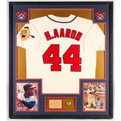 Hank Aaron Signed Braves 33.5x37.5x2 Custom Framed Jersey  Cut Shadowbox Display with World Series R