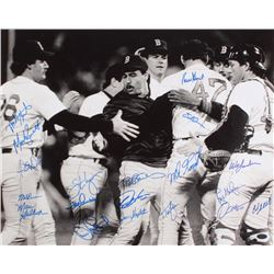 1986 Red Sox 16x20 Photo Team Signed by (20) with Mike Greenwell, Rich Gedman, Bob Stanley, Wes Gard