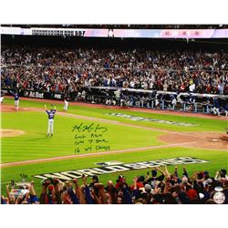 """Mike Montgomery Signed Cubs LE 16x20 Photo Inscribed """"Last Pitch"""", """"GM 7 Save""""  """"16 WS Champs"""" (Schw"""