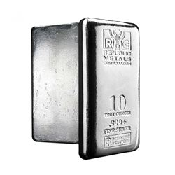 10 oz Bullion .999 Fine Silver Republic Metals Bar (Brilliant Uncirculated)