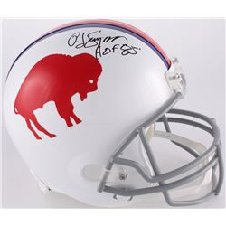 "O. J. Simpson Signed Bills Throwback Full-Size Helmet Inscribed ""HOF 85'"" (JSA COA)"