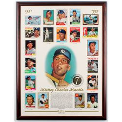 1996 Topps Mickey Mantle 19.75x26 Custom Framed Limited Edition Replica Baseball Card Sheet