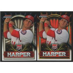 Lot Of (2) 2011 Bowman Chrome Bryce Harper Retail Exclusive #BCE1G Bryce Harper Gold