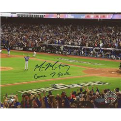 "Mike Montgomery Signed Cubs 2016 World Series 8x10 Photo Inscribed ""Game 7 Save"" (Schwartz COA)"