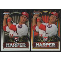 Lot of (2) Bryce Harper Baseball Cards with 2011 Bowman Chrome Retail Exclusive #BCE1R Red  2011 Bow