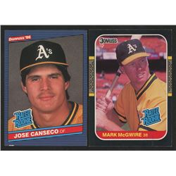 Lot of (2) 1987 Donuss Baseball Cards with #39 Jose Canseco RC  #46 Mark McGwire