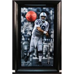 """Peyton Manning Signed Colts """"Breaking Through"""" 28x44 Custom Framed Limited Edition Photo Display (UD"""