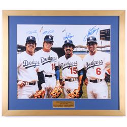 Dodger 22x25.5 Custom Framed Photo Signed by (4) with Ron Cey, Steve Garvey, Davey Lopes  Bill Russe