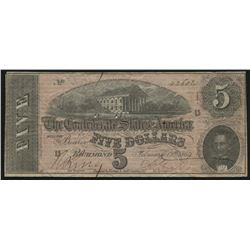 1864 $5 Five Dollars Confederate States of America Richmond CSA Bank Note
