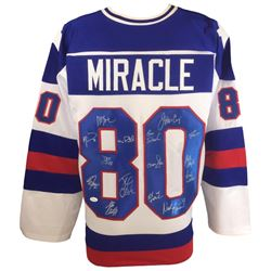 """1980 Team USA """"Miracle On Ice"""" Jersey Team-Signed by (15) Including Jim Craig, Mike Eruzione, Jack O"""