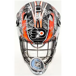2017-18 Flyers Full-Size Hockey Mask Team-Signed by (20) with Brian Elliott, Sean Couturier, Andrew