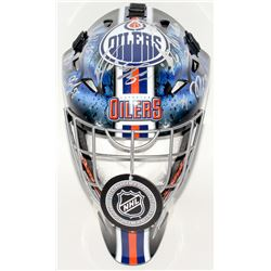 Oilers Full-Size Hockey Mask Team-Signed by (22) With Connor McDavid, Cam Talbot, Ryan Strome, Drake