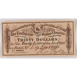 1864 $30 Thirty Dollars Confederate States of America Richmond CSA Bank Note Bond