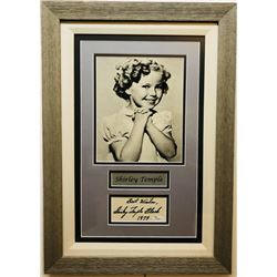 "Shirley Temple Signed 15x22 Custom Framed Signature Cut Display Inscribed ""Best Wishes""  ""1979"" with"