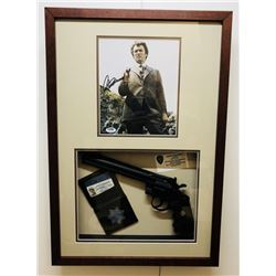 "Clint Eastwood Signed ""Dirty Harry"" 17x25 Shadow Box Photo Display with Prop Pistol  Badge (PSA LOA)"