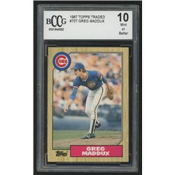 1987 Topps Traded #70T Greg Maddux XRC (BCCG 10)