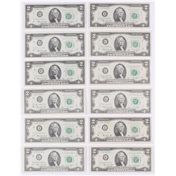 District Set of (12) 1976 $2 Two Dollar U.S. Bank Note Bills (Choice Crisp, Uncirculated)