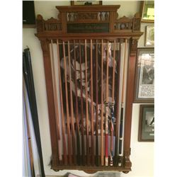 Oak Manhattan Pool Stick Rack with Cues