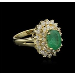 1.80 ctw Emerald and Diamond Ring - 14KT Yellow Gold