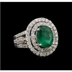 14KT White Gold 3.58 ctw Emerald and Diamond Ring