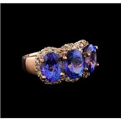 7.62 ctw Tanzanite and Diamond Ring - 14KT Rose Gold