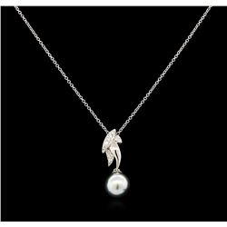 0.12 ctw Pearl and Diamond Pendant - 14KT White Gold